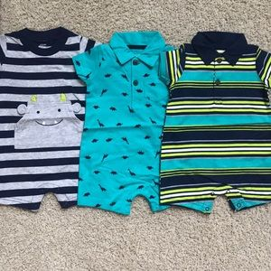 Carters 3 Pack Baby Boy Rompers